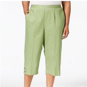NEW ALFRED DUNNER PLUS SIZE 18W GREEN CAPRIS PANTS